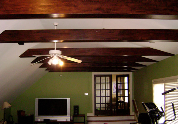 Rustic beams faux wood glaze back