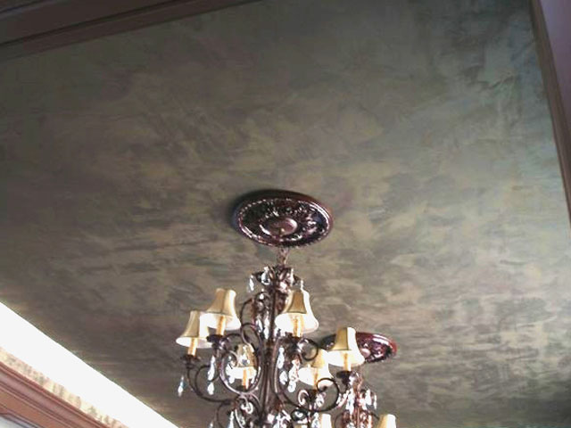 Metallic plaster and Lusterstone ceiling design.