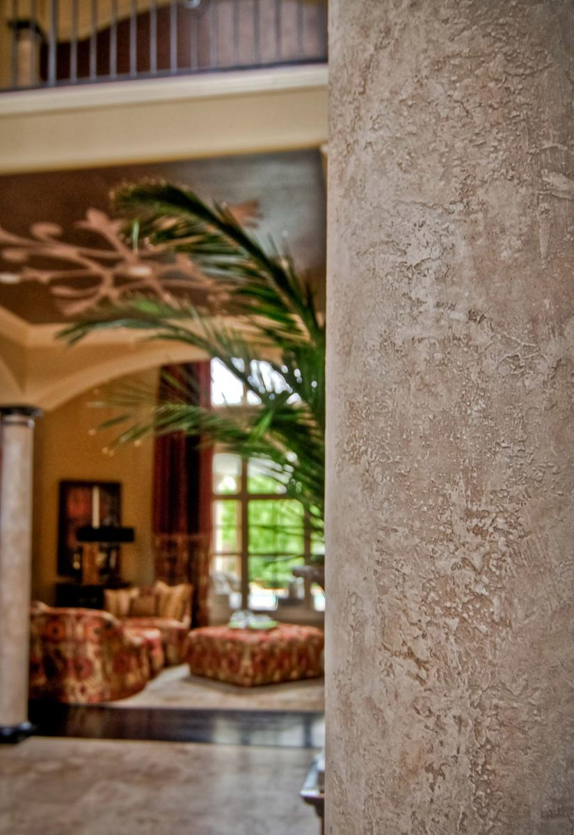 Close-up – This soft to the touch faux Spanish stone tinted plaster column design was the perfect enhancement for this Brentwood, TN. Governors Club customer's front entryway.