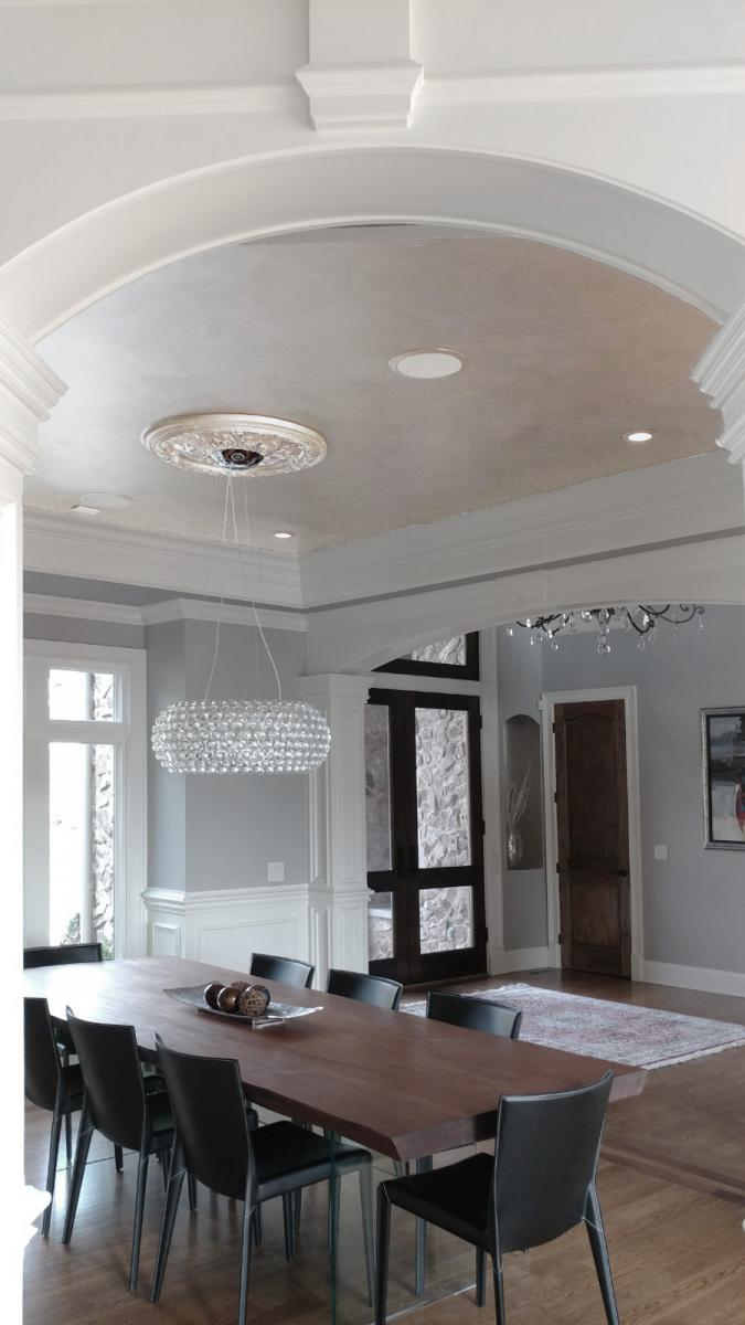 Warm silver metal faux ceiling design