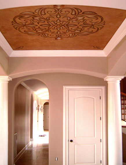 Stencil ceiling and wall designs.