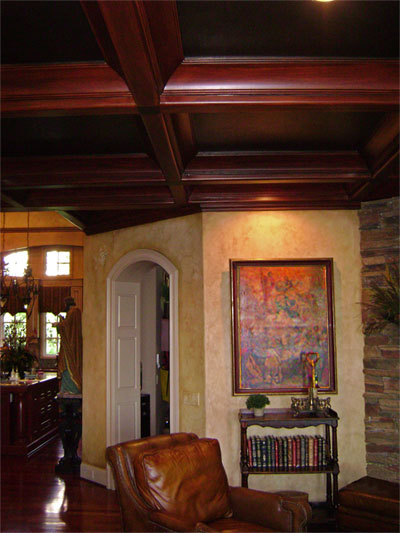 Faux wood grained plaster coffers