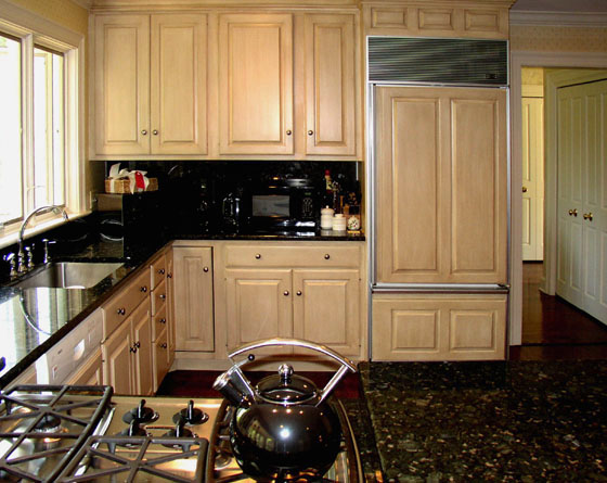 Luminous French glaze on kitchen cabinets