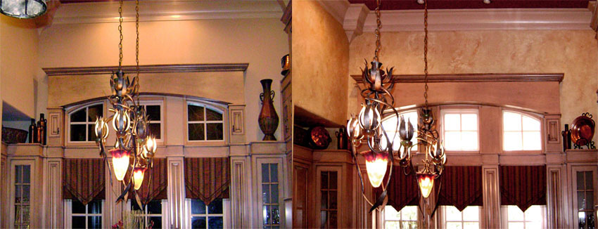 Before and After – Tuscany plastered and colored walls with 3D sculpted grape design over entrance ways.