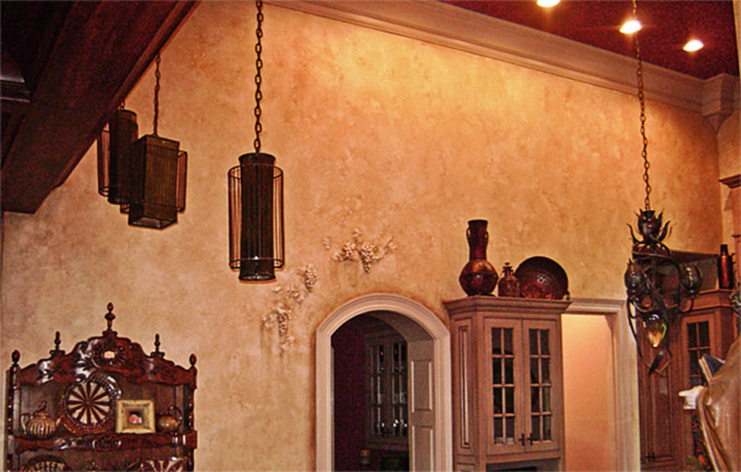 3D Tuscan grape and Tuscany plaster walls.