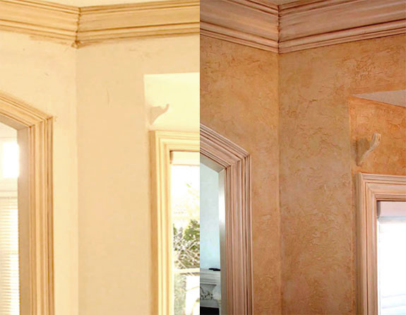 Before and After Kitchen- Custom colored soft Tuscan plaster wall finish and Tuscany wood glazing.