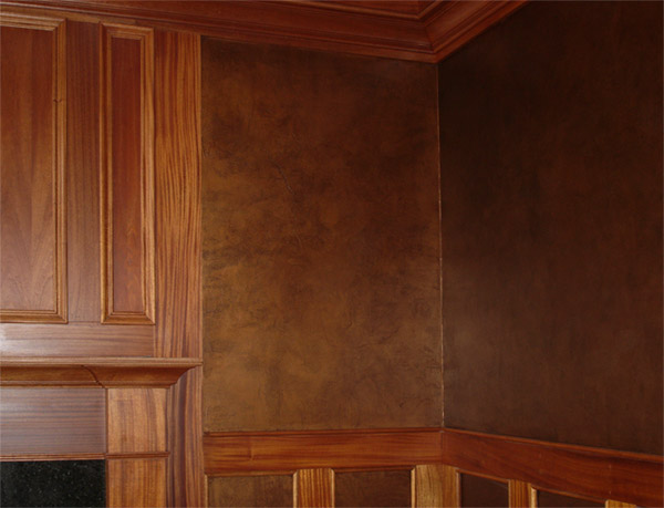 Faux rich leather walls.