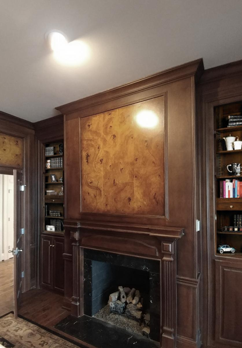 faux burl panels and wood grained walls