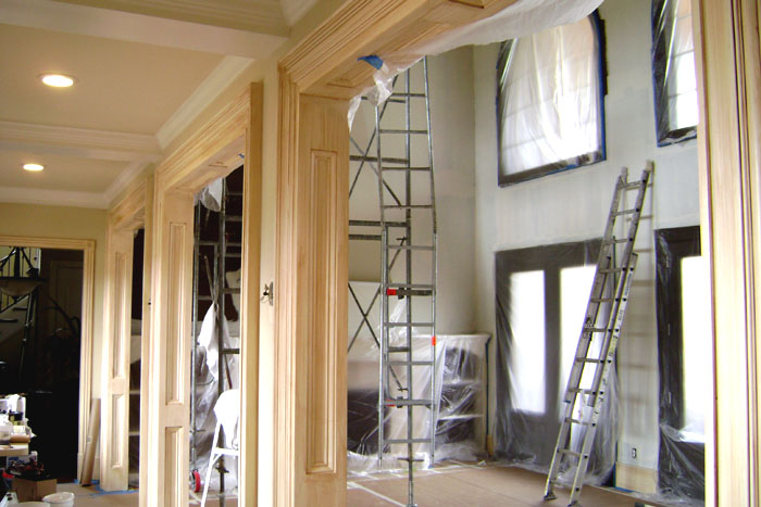 European glazed woodwork and softly colored plastered walls in progress.
