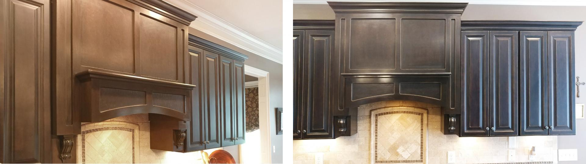 before and after rustic kitchen cabinet make-over.