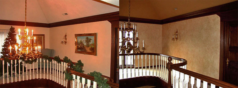 Before and After – Custom colored faux stone walls for customers this upstairs balcony hallway.
