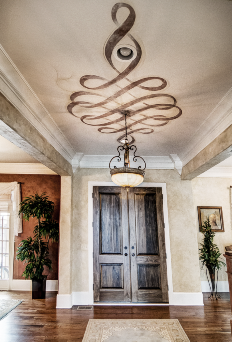 European plaster walls with a hand painted metallic Modello ceiling fresco.