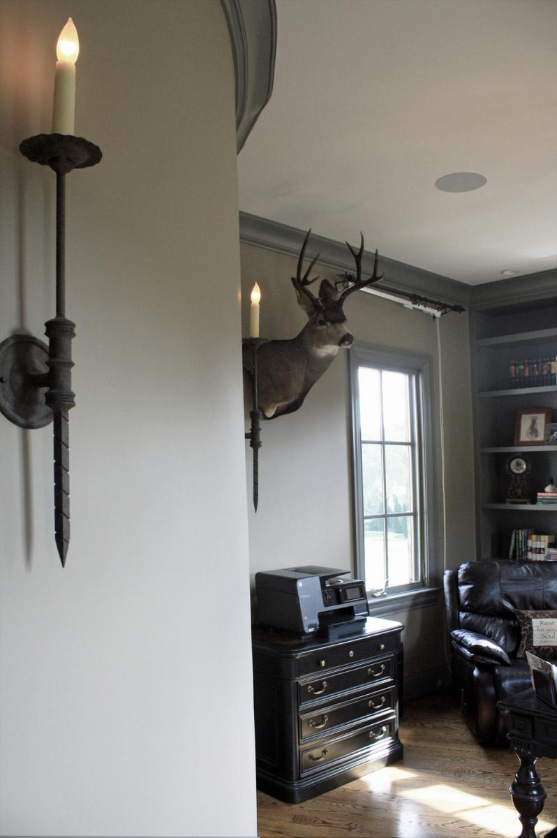 Striking home office with custom coordinated color palate selected and painted professionally by Faux Décor.