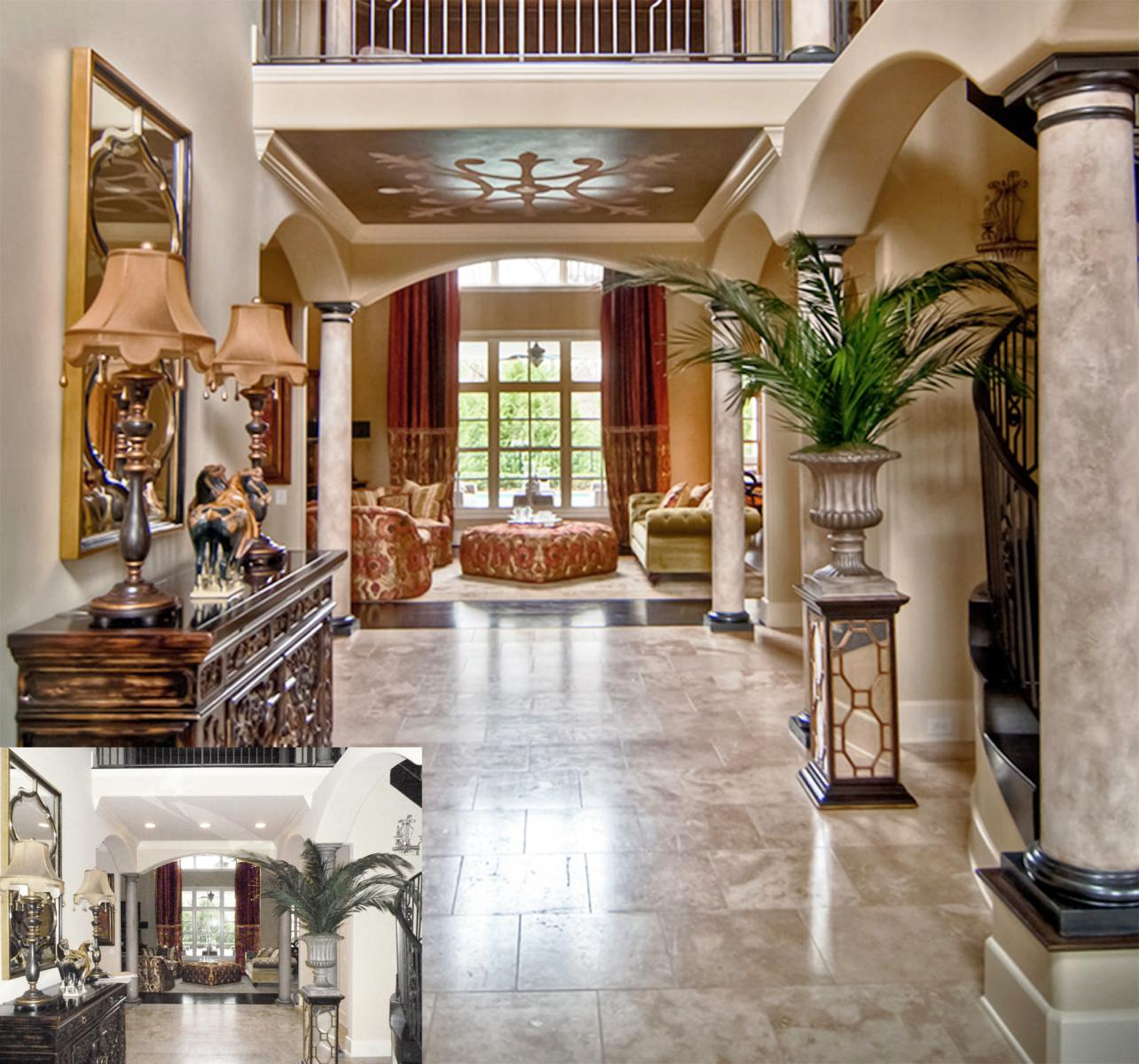 Spanish faux stone columns, bronze caps and custom stone and metal ceiling mural.