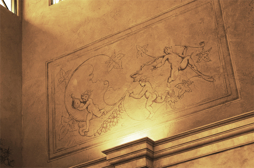 Private Client  - Close-up - Upper European plaster and glaze walls support hand painted sepia tone grisaille trompe l'oeil fresco panels – just beautiful.
