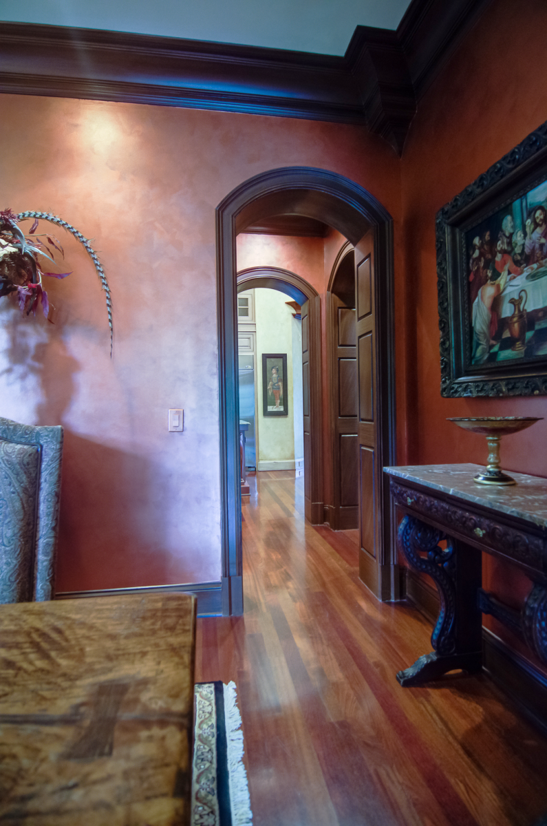 Diningroom Copper metallic wall glaze and wood glazed trim.