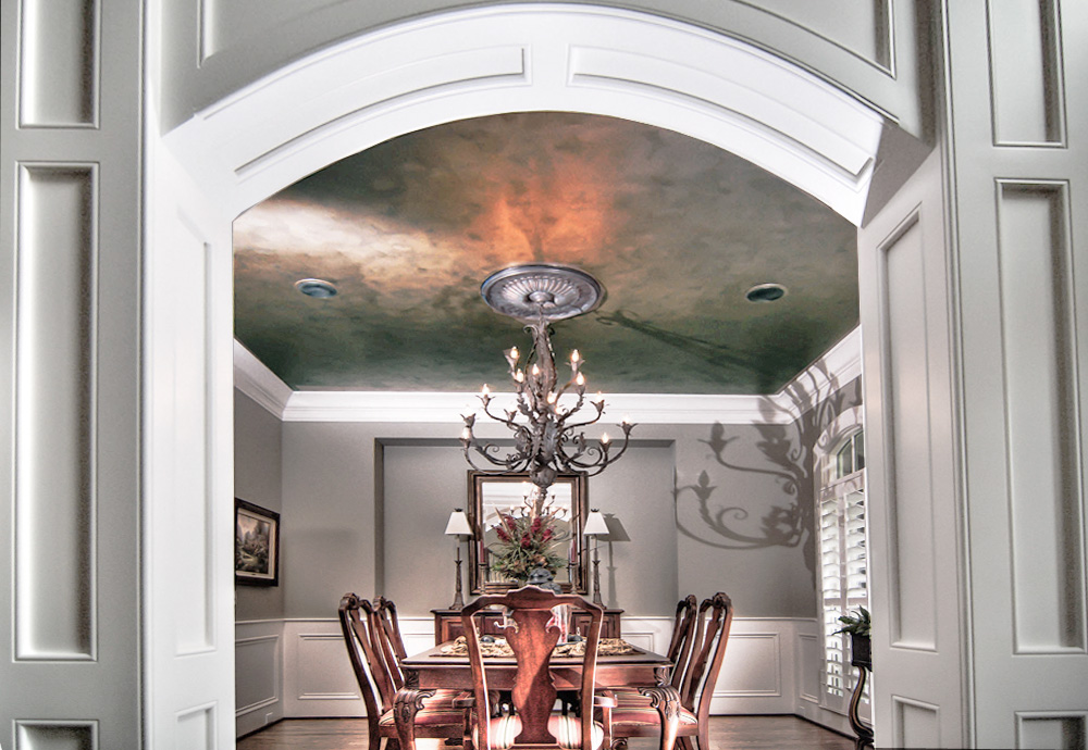 Copper and charcoal metallic ceiling glaze a faux iron patina chandelier medallion and modern paint colors complete this Franklin, TN customer's dining room makeover.