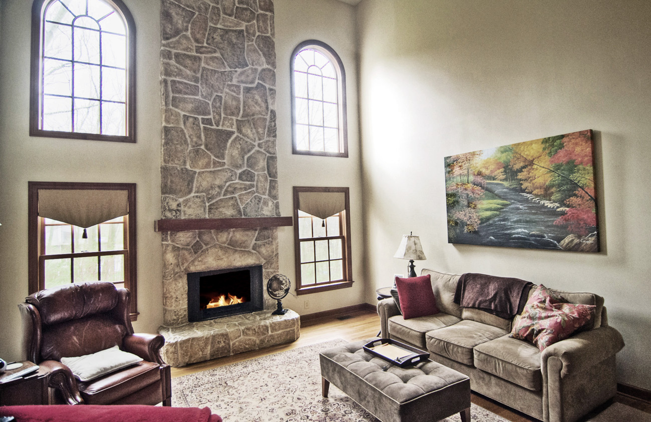 Faux stone fireplace makeover – Perfect.
