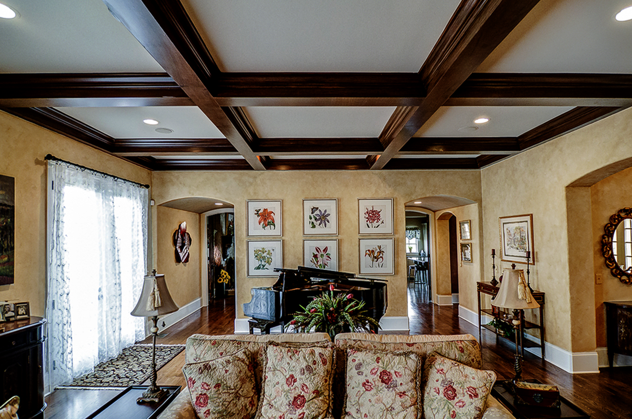 Custom colored French plaster walls and wood grained coffers makeover for this Franklin, TN customer's family room.