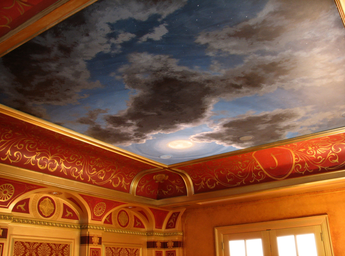 Home theater wall design and ceiling murals