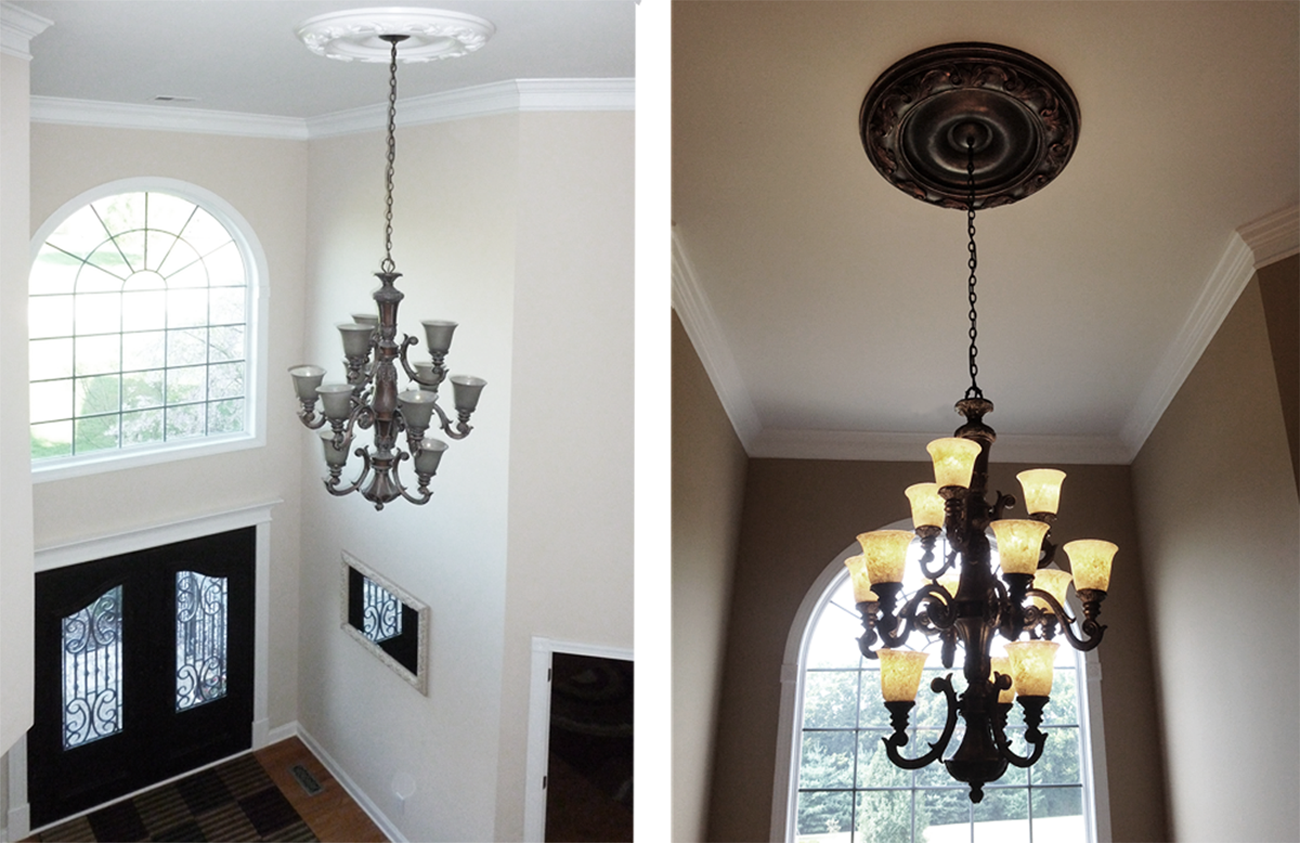 Before and After - meledallion and glass globes makeover.