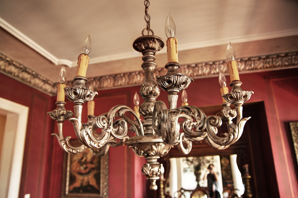 Faux metal plaster cornice, Lusterstone edging and refurbished chandelier