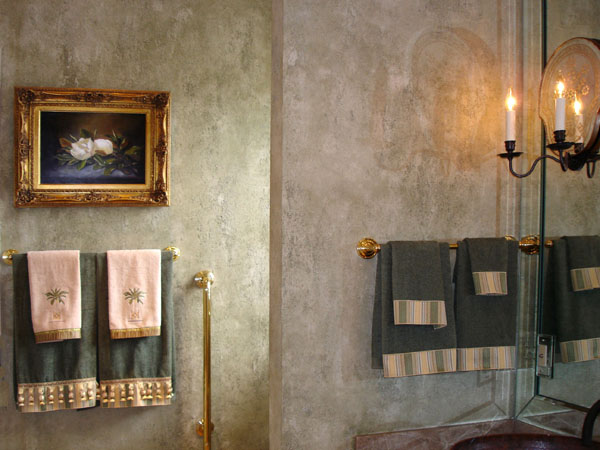 Custom tinted Lusterstone and plaster design.
