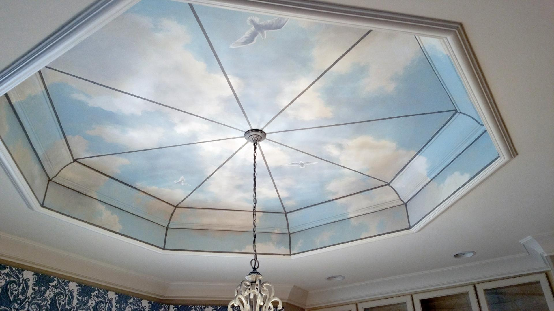 Breakfast room ceiling sky mural