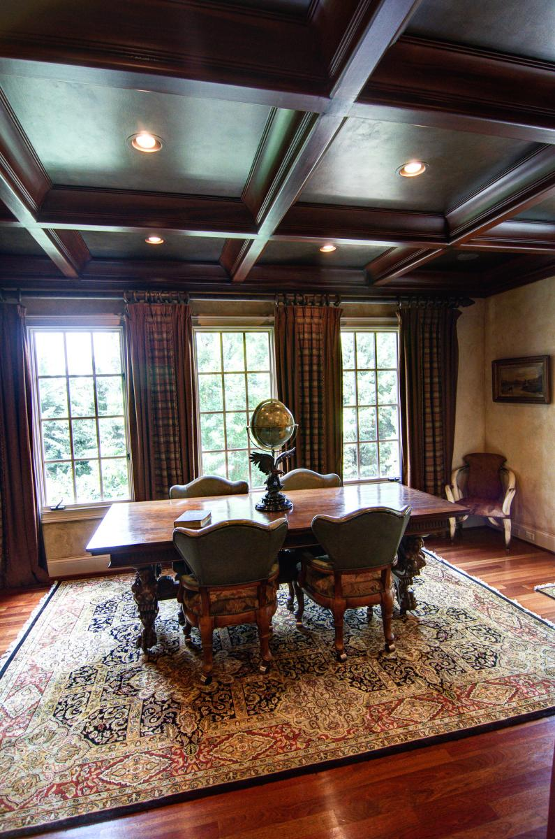Wood grained coffer ceiling with faux bronze panels in this Brentwood client's study.