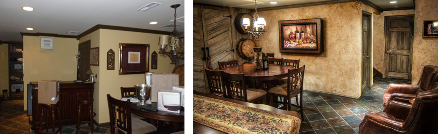 Before and After – European wine tasting room makeover for this Franklin, TN client. Authentic and Beautiful design.