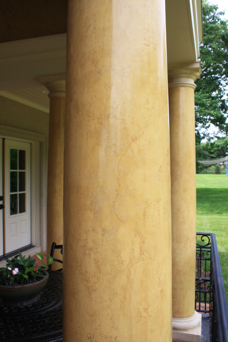 Venetian plaster columns close up