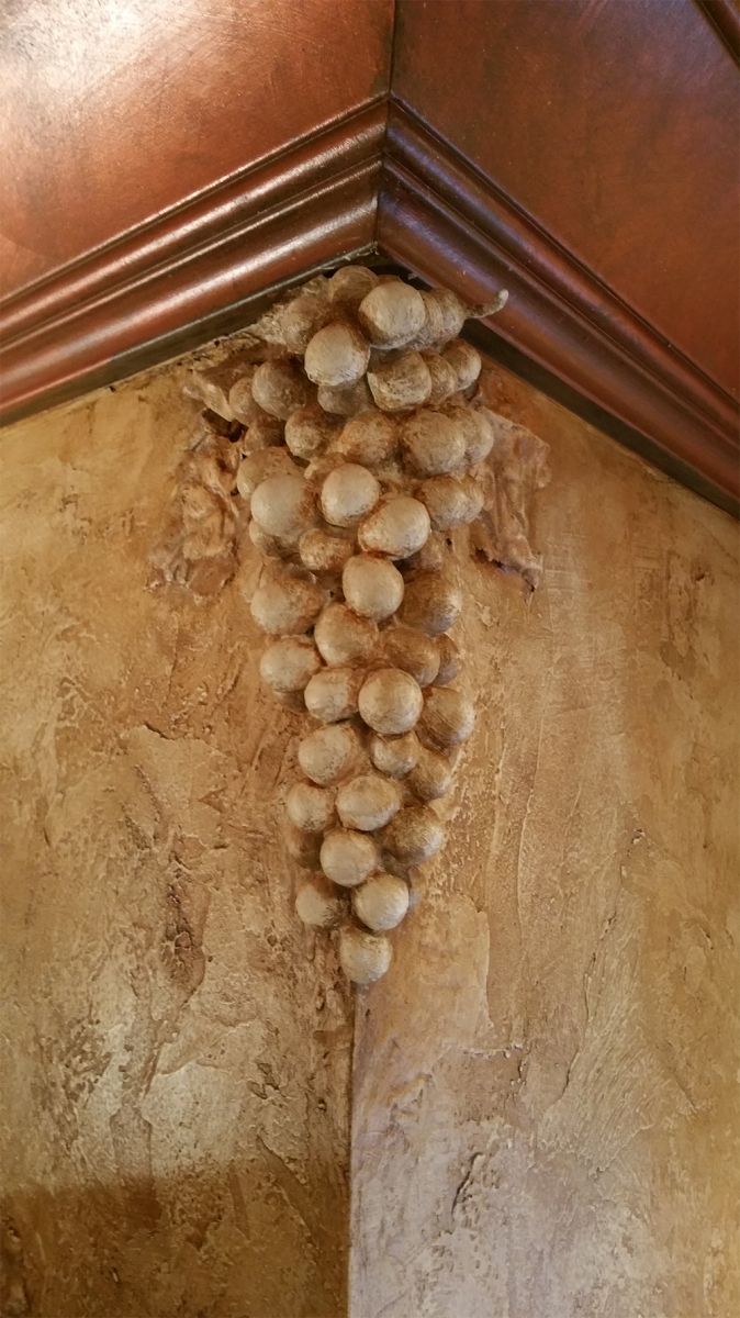 Faux Tuscan Grapes and faux copper ceiling