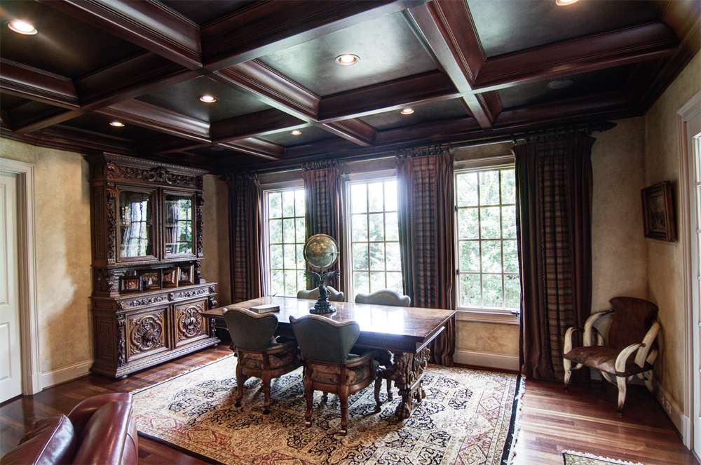 Experience this Brentwood client's family room/study with wood grained coffer ceiling, faux bronze metallic panels and Tuscan plaster walls.   Brilliant!