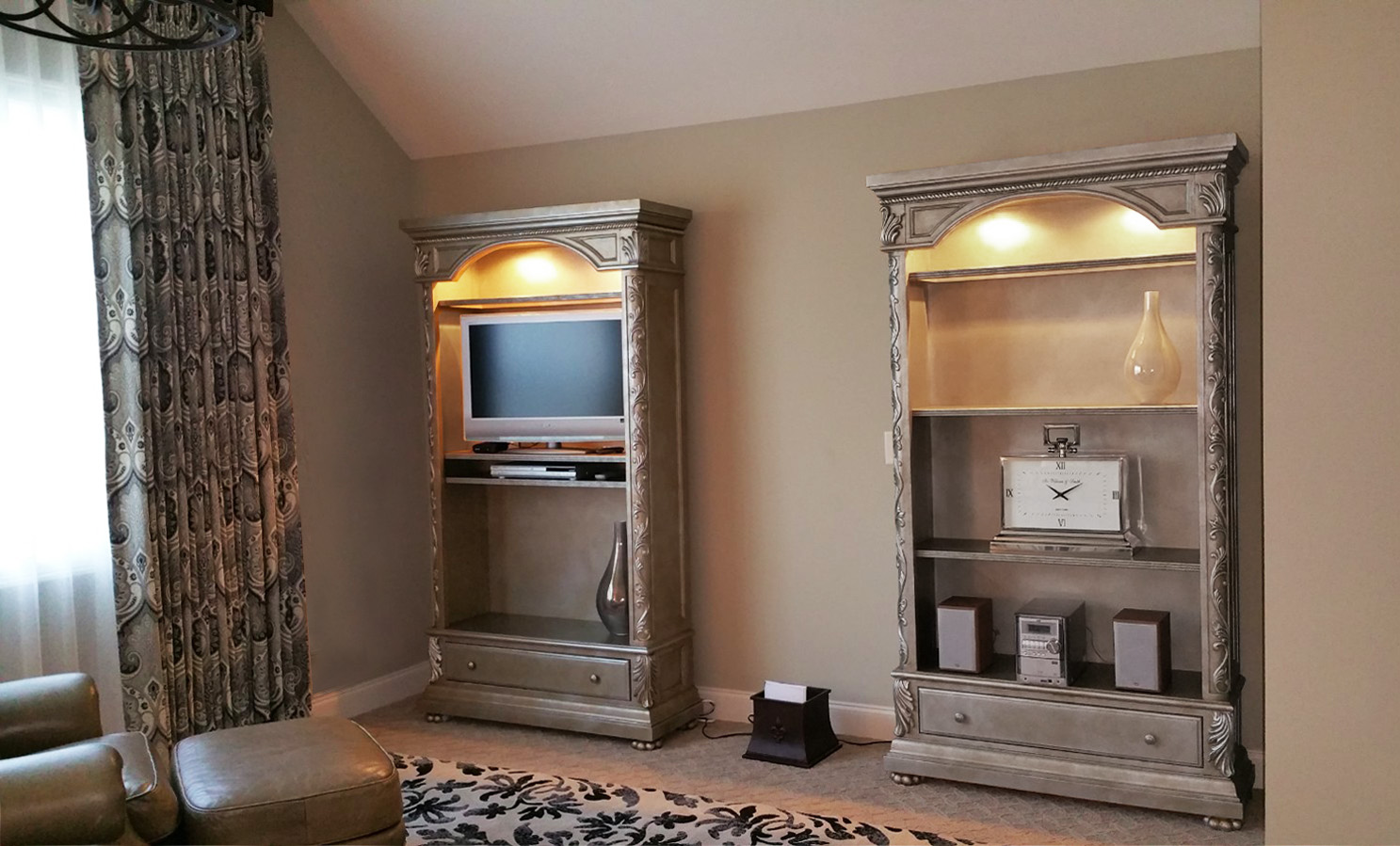 Faux silver furniture piece finish