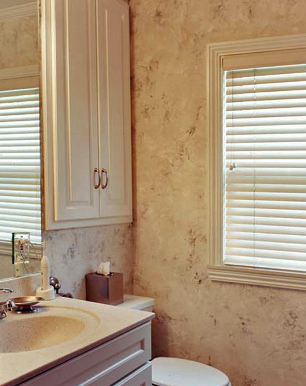 Plaster and bronze metallic glaze walls.