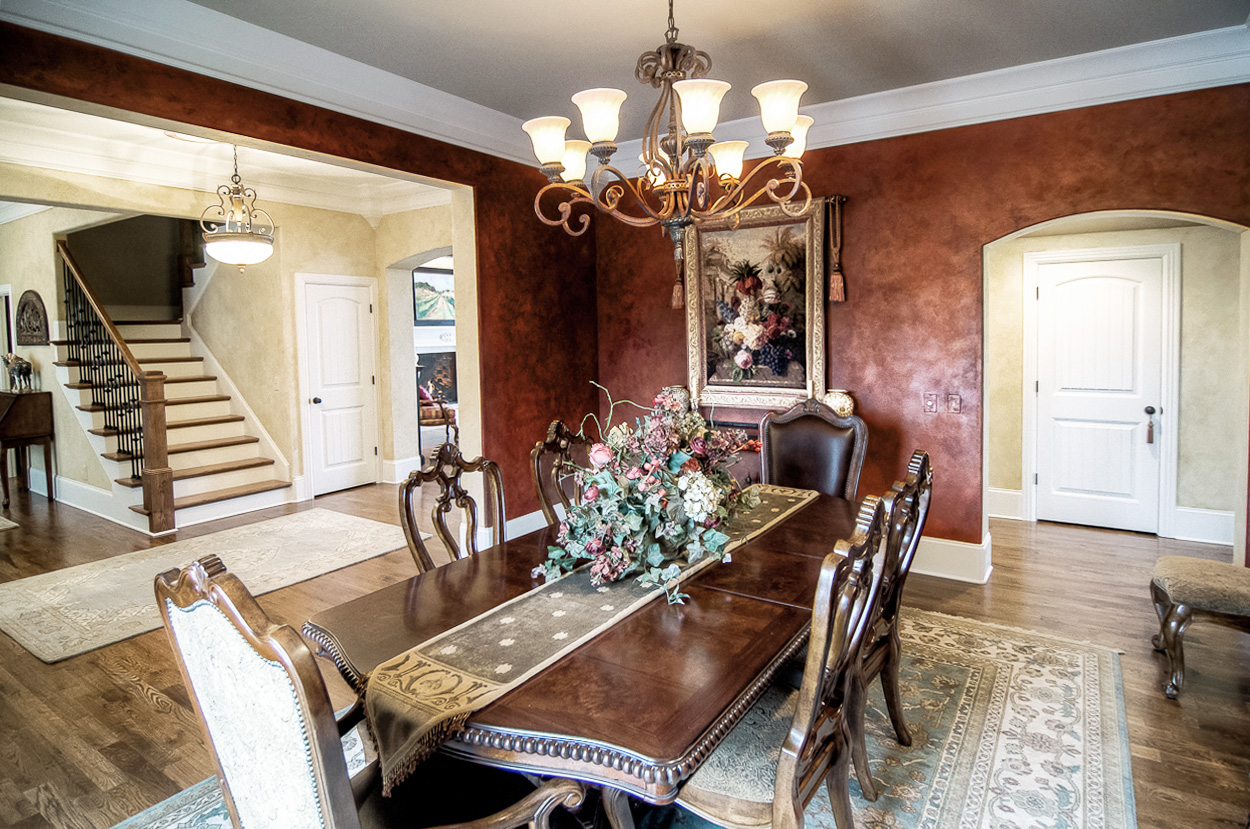 French plaster entry and shimmering custom colored Lusterstone dining room walls