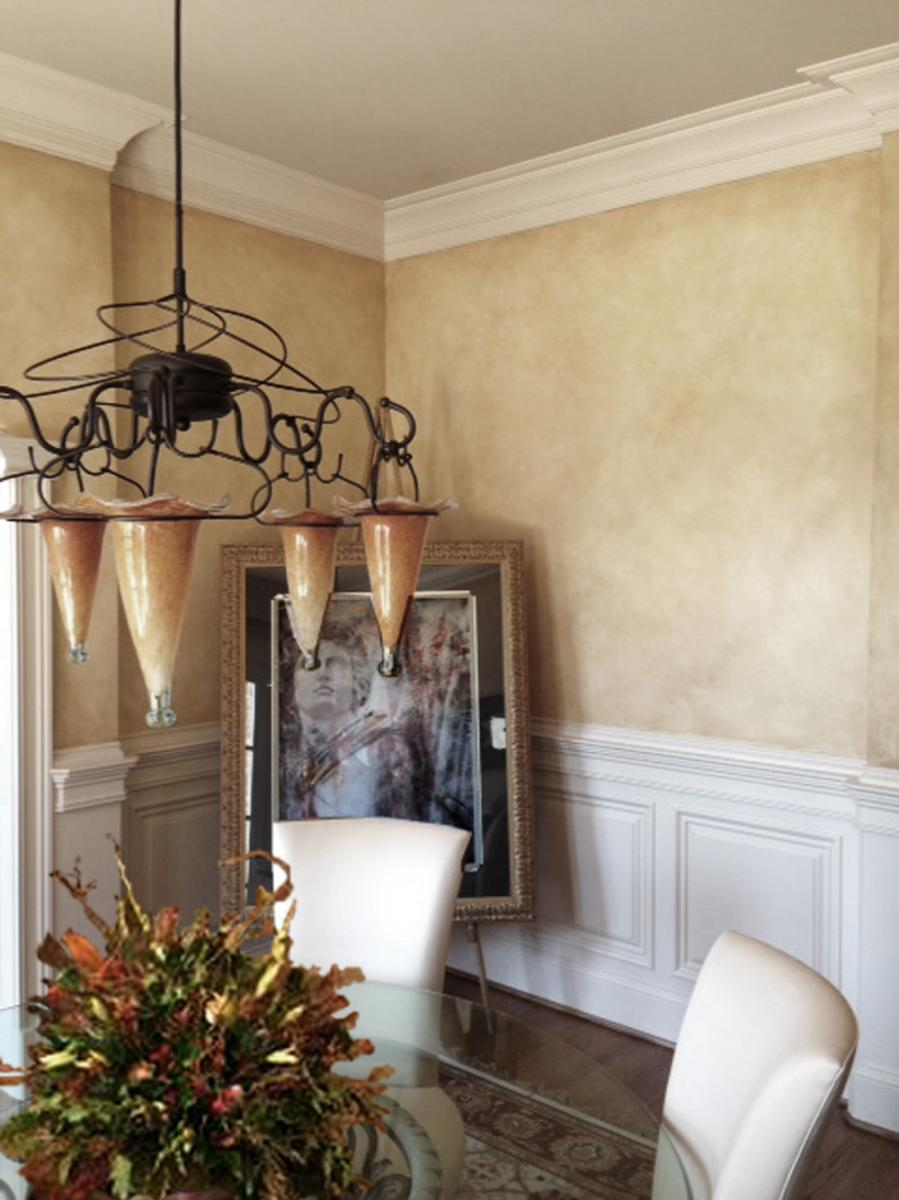 European makeover - warm Tuscan yellow ocher and sienna wall glaze