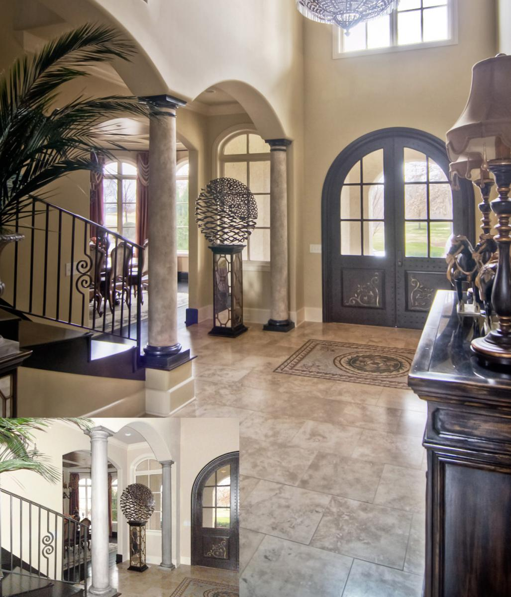 Faux stone columns with the perfect wall color