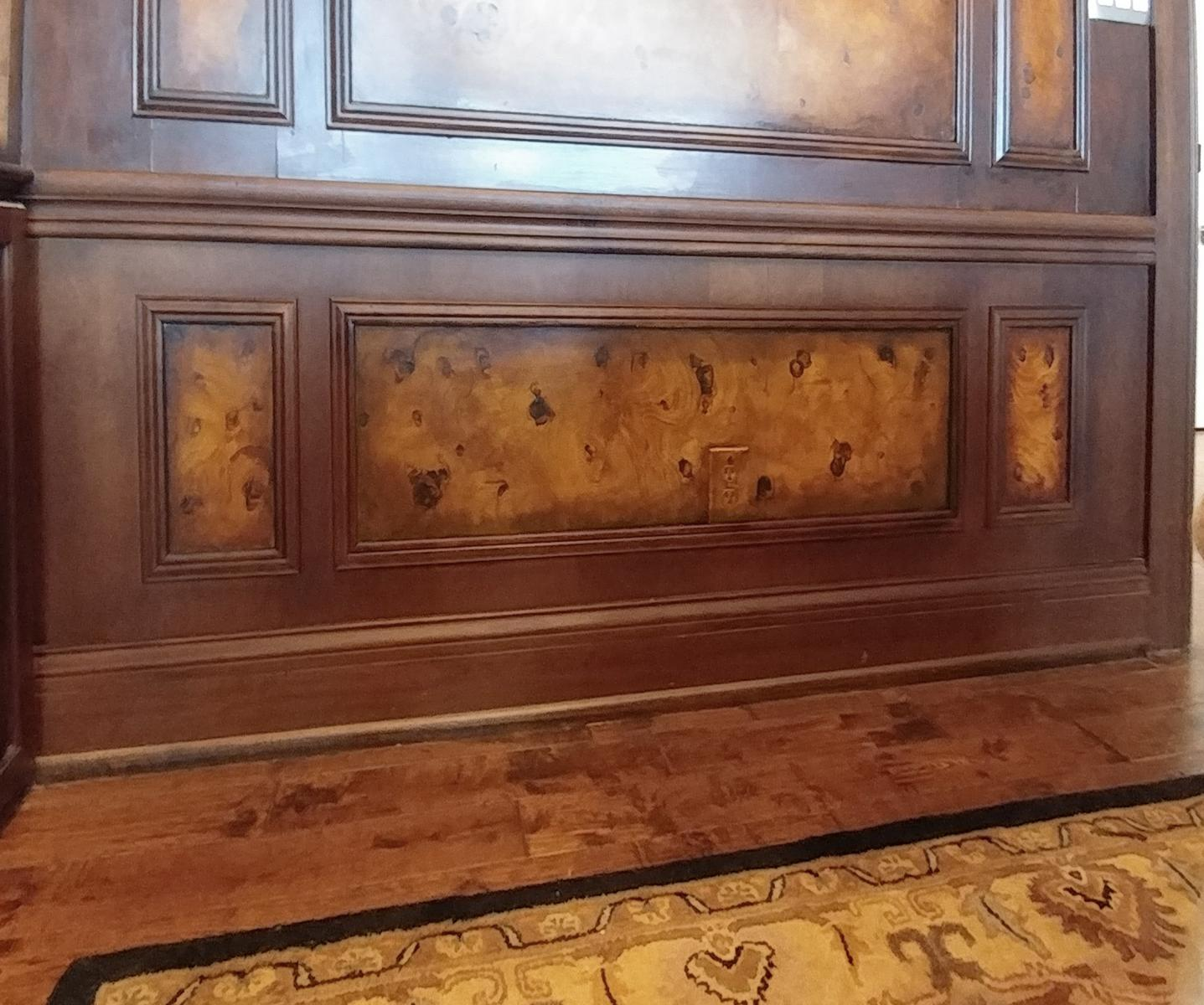 faux burl and wood grained panels and mahogany wood grained walls close up
