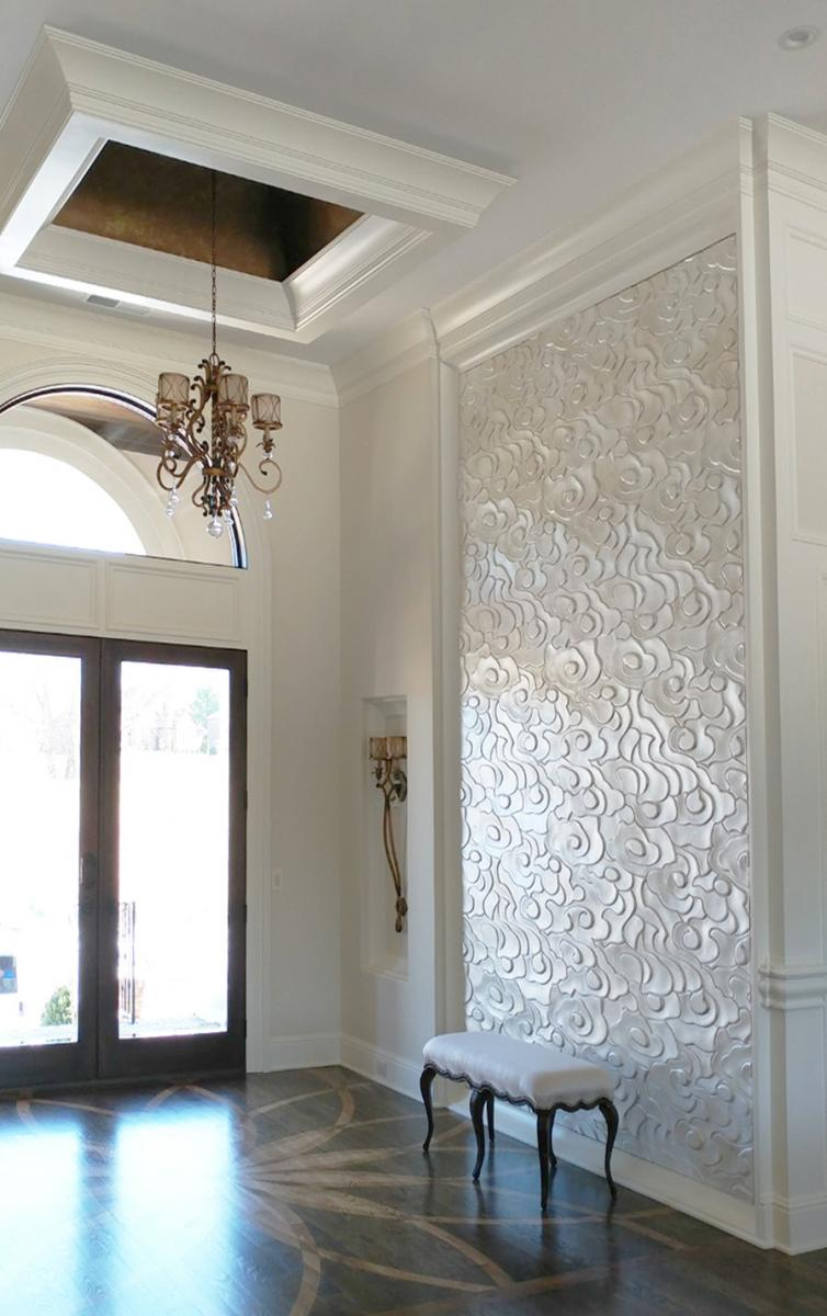 pearlized plaster wall art piece