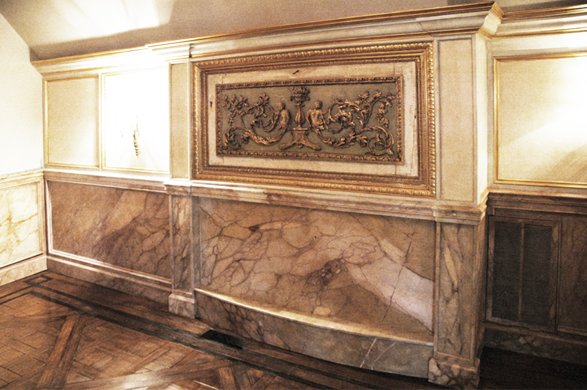 Faux marble wainscot, faux wood grained floor inlay and gold leaf mill-work trim from UA member Andrew Bruckman.