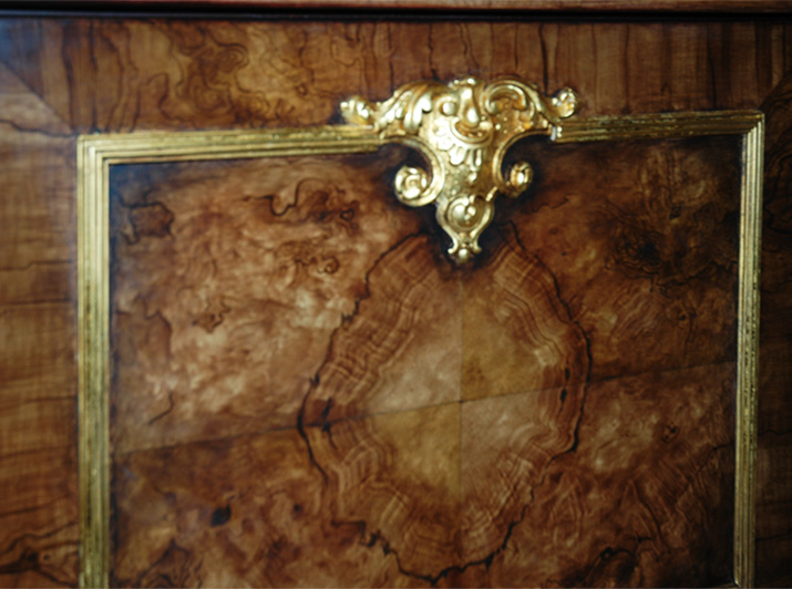 Faux burl wood panels with gold-leaf mill-work trim from Andrew Bruckman.