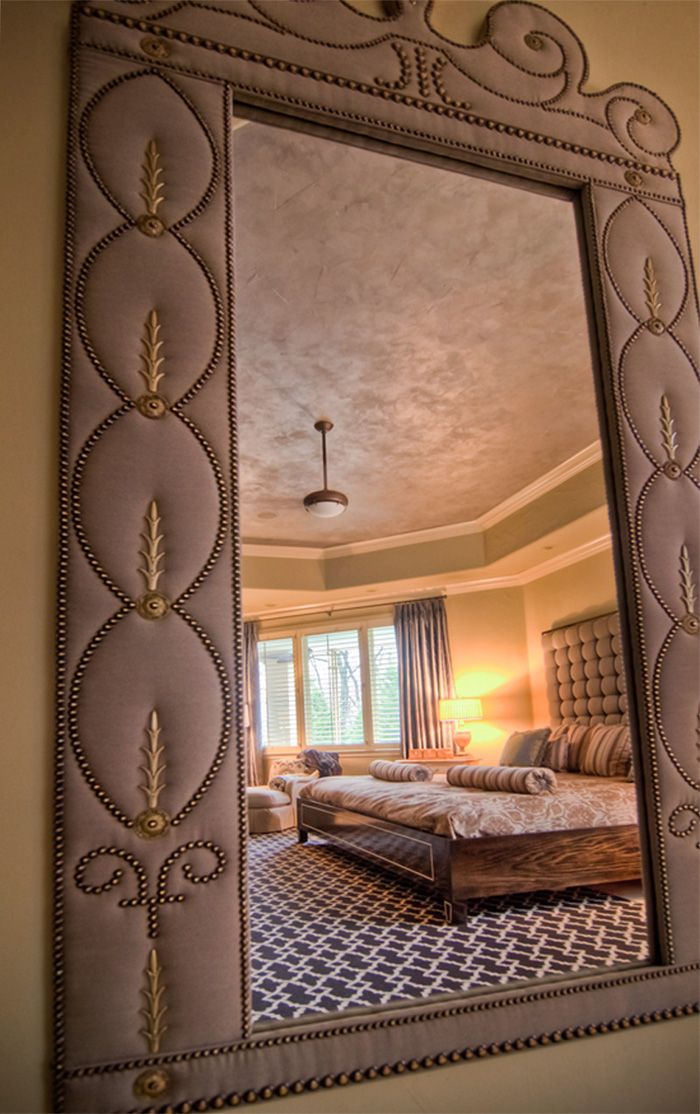 Our designs are often times a reflection of our customer's vision. They saw a shimmering ceiling to complement their glistening Chinese silk draperies.