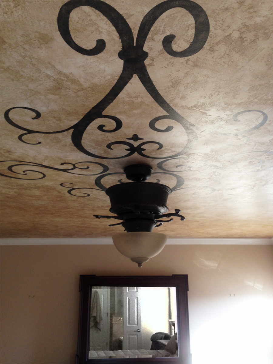 Custom ceiling design over plaster fresco