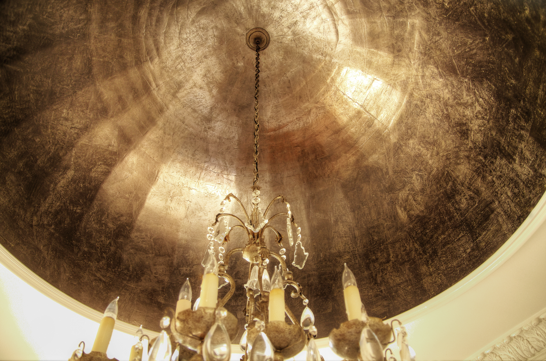 Silver and gold frottage dome ceiling design.