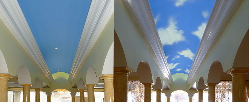 Before and After sky mural.