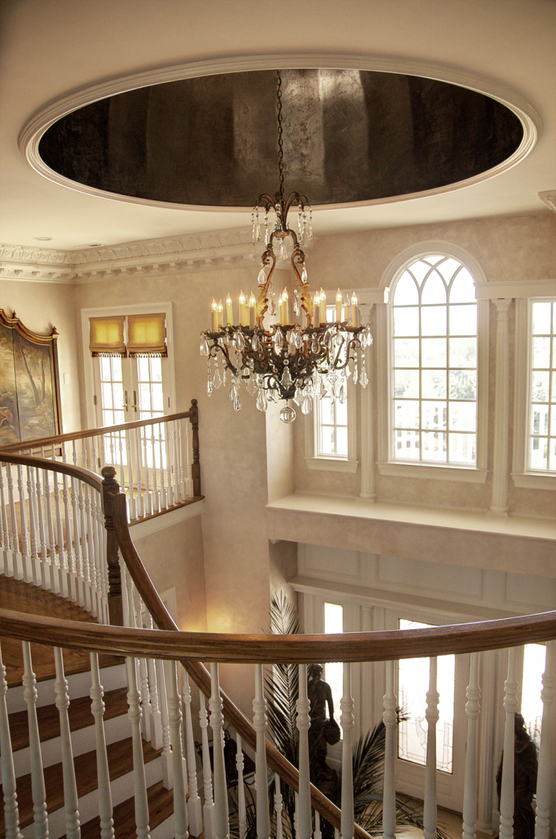 Elegant walls in Queen Ann's Lace Lusterstone topped off with a beautiful bronze and gold dome ceiling.
