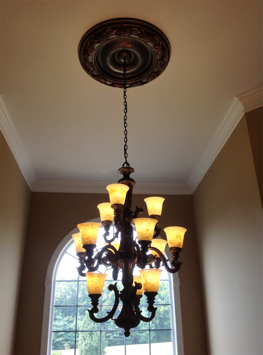 Faux Metal Looks - ceiling medallion and hand painted globes.