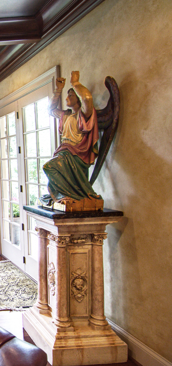 Faux stone base and faux marble top statue stand, wood grained coffer ceiling and Tuscan colored plastered walls for this Bentwood, TN client's study.