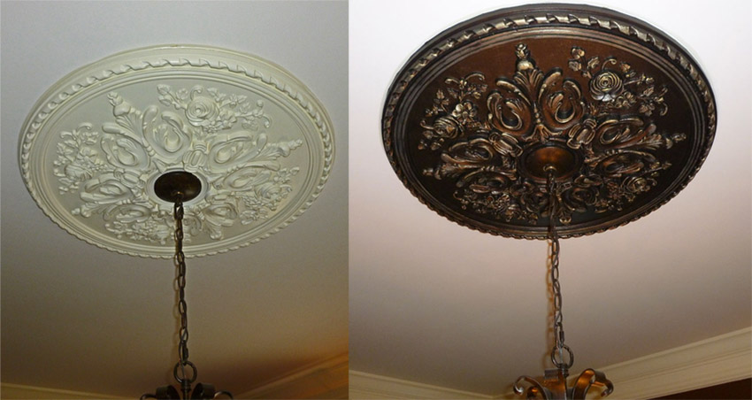 Before and After - Faux Metal - ceiling medallion